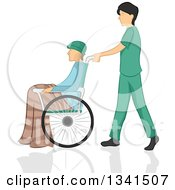 Clipart Of A Sketched White Male Nurse Pushing A Patient In A Wheelchair Royalty Free Vector Illustration