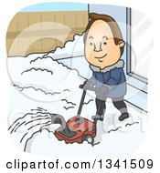 Clipart Of A Cartoon Brunette White Man Using A Snow Blower In His Yard Royalty Free Vector Illustration