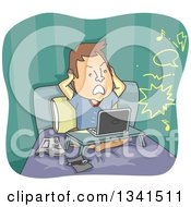 Clipart Of A Cartoon Frustrated Caucasian Man Covering His Ears In Bed While Hearing Noise From The Neighbors Royalty Free Vector Illustration