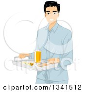Clipart Of A Young Asian Man In Pajamas Carrying A Breakfast Tray Royalty Free Vector Illustration
