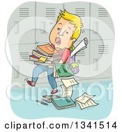 Clipart Of A Cartoon White Male Teenager Struggling With A Stack Of Books By His Locker Royalty Free Vector Illustration