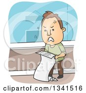 Clipart Of A Cartoon Angry Brunette White Man Reviewing A Billing Statement Royalty Free Vector Illustration