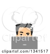 Clipart Of A Thinking Asian Man Behind A Laptop Computer Royalty Free Vector Illustration