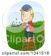 Clipart Of A Cartoon Blond White Man Trimming A Garden Hedge In His Yard Royalty Free Vector Illustration
