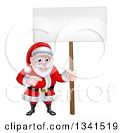 Clipart Of A Cartoon Christmas Santa Claus Pointing And Holding A Blank Sign Royalty Free Vector Illustration