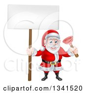 Clipart Of A Happy Plumber Christmas Santa Claus Holding A Plunger And Blank Sign Royalty Free Vector Illustration