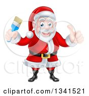 Clipart Of A Christmas Santa Claus Giving A Thumb Up And Holding A Blue Paintbrush Royalty Free Vector Illustration