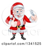 Clipart Of A Happy Christmas Santa Claus Holding An Adjustable Wrench And Giving A Thumb Up Royalty Free Vector Illustration