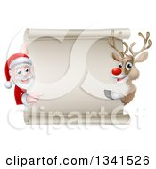 Clipart Of A Cartoon Christmas Rudolph The Red Nosed Reindeer And Santa Pointing Around A Blank Scroll Sign Royalty Free Vector Illustration