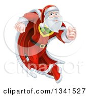 Clipart Of A Super Hero Santa Claus Running In A Christmas Suit And Cape Royalty Free Vector Illustration
