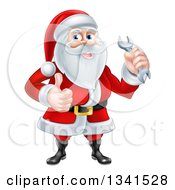 Clipart Of A Happy Christmas Santa Claus Holding A Wrench And Giving A Thumb Up Royalty Free Vector Illustration