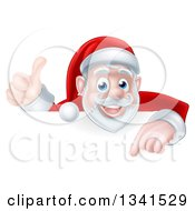 Clipart Of A Cartoon Christmas Santa Claus Pointing Down Over A Sign And Giving A Thumb Up Royalty Free Vector Illustration