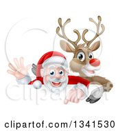 Clipart Of A Cartoon Christmas Rudolph The Red Nosed Reindeer And Waving Santa Over A Sign Royalty Free Vector Illustration by AtStockIllustration