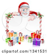 Clipart Of A Cartoon Christmas Santa Claus Pointing Down Over A Blank Sign With Gifts Royalty Free Vector Illustration