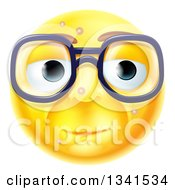 Clipart Of A 3d Blemished Yellow Smiley Emoji Emoticon Face Wearing Glasses Royalty Free Vector Illustration