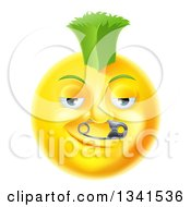 Clipart Of A 3d Punk Yellow Smiley Emoji Emoticon Face With A Safety Pin In His Nose And A Green Mohawk Royalty Free Vector Illustration