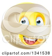 Clipart Of A 3d Yellow Smiley Emoji Emoticon Face With Mummy Wrappings Royalty Free Vector Illustration by AtStockIllustration