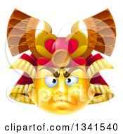 3d Yellow Smiley Emoji Emoticon Face In A Samurai Warrior Helmet