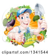Clipart Of A Middle Aged Brunette White Male Gardener In Blue Holding Up A Shovel And Giving A Thumb Up In A Wreath Of Produce Royalty Free Vector Illustration