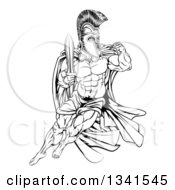 Clipart Of A Black And White Muscular Gladiator Man In A Helmet Fighting With A Sword And Holding Up A Fist Royalty Free Vector Illustration