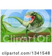 Clipart Of A 3d Green Vicious Tyrannosaurus Rex Dinosaur Roaring In A Landscape Royalty Free Vector Illustration by AtStockIllustration