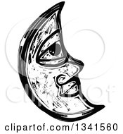 Clipart Of A Black And White Woodcut Styled Crescent Moon Face Royalty Free Vector Illustration