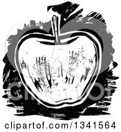 Clipart Of A Black And White Woodcut Styled Apple Royalty Free Vector Illustration by Prawny