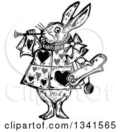 Black And White Woodcut Styled Herald Rabbit Blowing A Trumpet