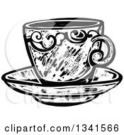 Clipart Of A Black And White Woodcut Styled Tea Cup On A Saucer Royalty Free Vector Illustration by Prawny