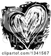 Clipart Of A Black And White Woodcut Styled Heart Royalty Free Vector Illustration