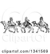 Clipart Of Black And White Woodcut Styled Wise Men On Camels Royalty Free Vector Illustration