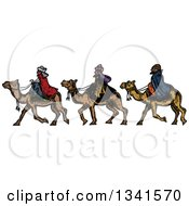 Clipart Of Woodcut Styled Wise Men On Camels Royalty Free Vector Illustration