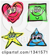 Clipart Of Sketched And Watercolored Happy Shape Characters Royalty Free Illustration
