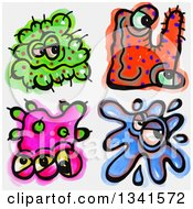 Clipart Of Sketched And Watercolored Germ Characters Royalty Free Illustration