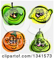 Clipart Of Sketched And Watercolored Happy Fruit Characters Royalty Free Illustration