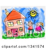 Clipart Of A Doodle Of Happy Caucasian Children Playing In The Yard Of Their House On A Summer Day Royalty Free Illustration by Prawny