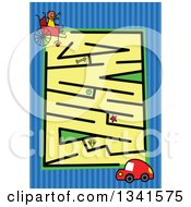 Clipart Of A Stick Boy In A Wheelchair And Car Toddler Puzzle Maze Over Blue Stripes Royalty Free Vector Illustration by Prawny