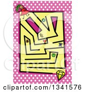 Poster, Art Print Of Stick Girl And Diamond Toddler Puzzle Maze Over Polka Dots