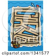 Clipart Of A Stick Boy Pirate And Treasure Chest Toddler Puzzle Maze Over Blue Waves Royalty Free Vector Illustration