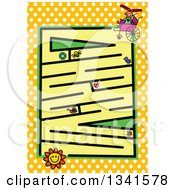 Poster, Art Print Of Stick Girl In A Wheelchair And Flower Toddler Puzzle Maze Over Polka Dots