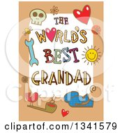 Clipart Of A Doodled The Worlds Best Grandad Occasion Design Over Purple Royalty Free Vector Illustration by Prawny