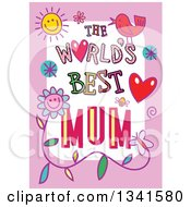 Clipart Of A Doodled The Worlds Best Mum Occasion Design Over Purple Royalty Free Vector Illustration by Prawny