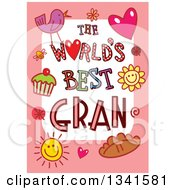 Clipart Of A Doodled The Worlds Best Gran Occasion Design Over Purple Royalty Free Vector Illustration by Prawny