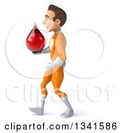 Clipart Of A 3d Young Brunette White Male Super Hero In An Orange Suit Holding A Blood Drop And Walking To The Left Royalty Free Illustration by Julos
