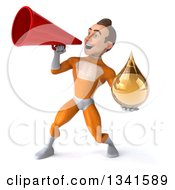 Clipart Of A 3d Young Brunette White Male Super Hero In An Orange Suit Holding An Amber Medicine Tincture Droplet And Announcing To The Left With A Megaphone Royalty Free Illustration