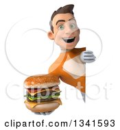 Clipart Of A 3d Young Brunette White Male Super Hero In An Orange Suit Holding A Double Cheeseburger Around A Sign Royalty Free Illustration