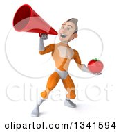 Clipart Of A 3d Young Brunette White Male Super Hero In An Orange Suit Holding A Tomato And Announcing With A Megaphone Royalty Free Illustration