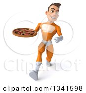 Clipart Of A 3d Young Brunette White Male Super Hero In An Orange Suit Holding A Pizza And Speed Walking Royalty Free Illustration