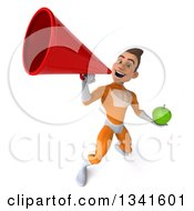 Clipart Of A 3d Young Brunette White Male Super Hero In An Orange Suit Holding A Green Apple And Announcing Upwards With A Megaphone Royalty Free Illustration