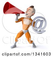 Clipart Of A 3d Young Brunette White Male Super Hero In An Orange Suit Holding An Email Arobase At Symbol And Announcing To The Left With A Megaphone Royalty Free Illustration